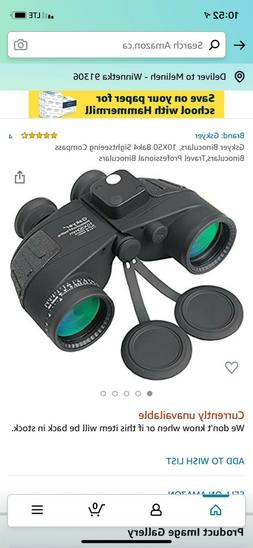 10X50 Binoculars BAK4 with Rangefinder Compass High Power Te