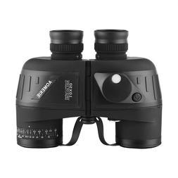 10X50 Binoculars Glimmer Light Vision Rangefinder Compass Wa
