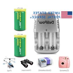 2PCS CR2 3V 800mAh Lithium-ion Rechargeable Battery+Charger