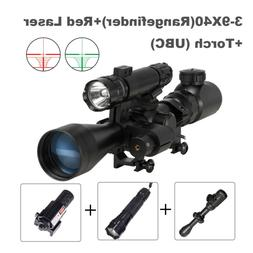 3-9X40EG Rangefinder Reticle Rifle Scope Combo Red Laser & F
