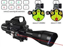 MidTen 4-12x50 Dual Illuminated Scope with Dot Sight & Laser