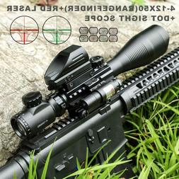Pinty 4-12X50 Rangefinder Reticle Rifle Scope w/Red Laser Si