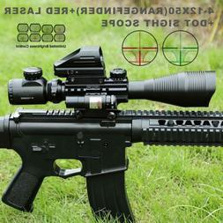 Pinty 4-12X50EG Rangefinder Reticle Riflescope Laser&20mm Ra