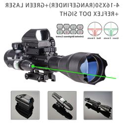 4-16x50 3in1 Combo Rangefinder Rifle Scope W/Green Laser &Re