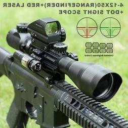 4-12X50EG Hunting Rangefinder Reticle Riflescope w/ Red Lase