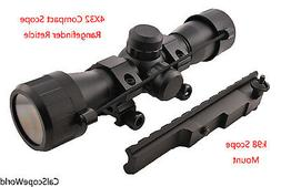 4x32 Compact Scope With Rangefinder Reticle and Scout Rifle