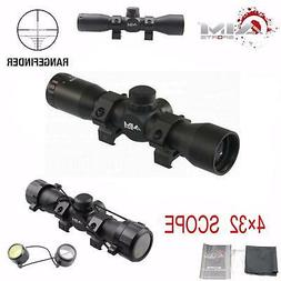Aim Sports 4X32 Compact Tactical Rangefinder Reticle w/Rings