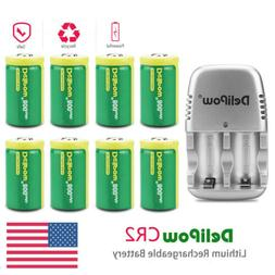8PCS Battery CR2 800mAh Rechargeable Lithium With Charger Fo