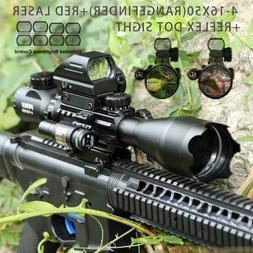 4-16x50EG Rangefinder Rifle Scope w/ 4 Reticle Green/Red Dot