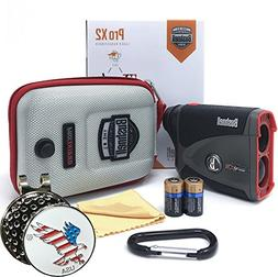 Bushnell Pro X2 Golf Laser Rangefinder GIFT BUNDLE | Include