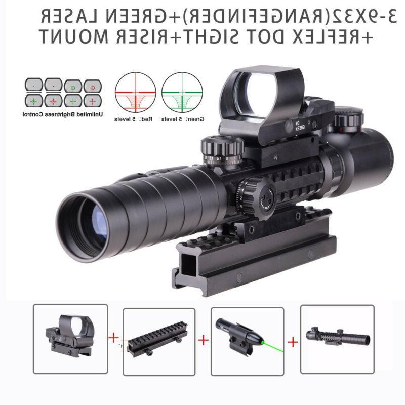 Rifle Scope 3-9x32EG Rangefinder 4 Reticle Dot Reflex Sight