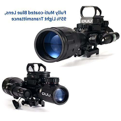 UUQ Scope Red/Green Finder Reticle W/RED Laser and Sight & Flash Light