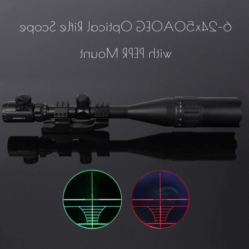 6 24x50mm rangefinder mildot reticle illuminated riflescope