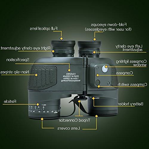 USCAMEL 10x50 Waterproof HD Binoculars Compass - Green