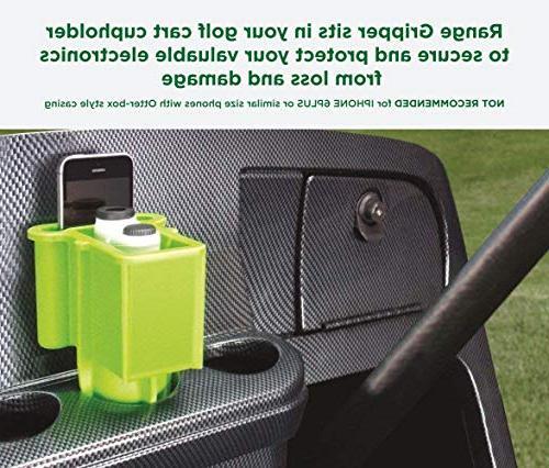 The Range Golfers Rangefinder/Smartphone Holder- Fits Golf Cupholder, Secures & Your Range Finder - Never Lose Valuables Again, Black