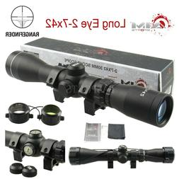 AIM SPORTS Long Eye Relief 2-7x42 Rangefinder Scope w/ Rings