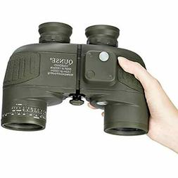 QUNSE 10x50 Military HD Binoculars With Compass And Rangefin