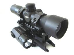 SKS 4x32 Compact Scope with Tactical Red Laser, Flashlight a
