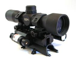 SKS 4x32 Compact Scope with Tactical Tri-rail Mount, LED Fla