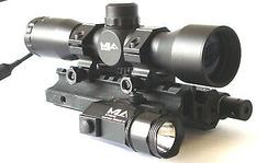 Tactical 4x32 Compact Scope with Red Laser, LED Flashlight a