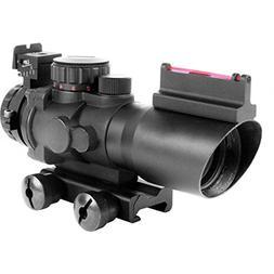 4x32 Tactical Compact Scope + Fiberoptic Sight Mil-Dot Retic