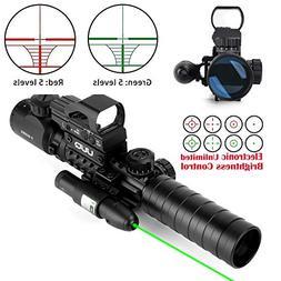 UUQ 3-9x40mm Tactical Illuminated Rifle Scope Range Finder R