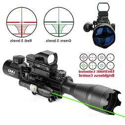 UUQ 4-16x50 Tactical Rifle Scope Red/Green Illuminated Range