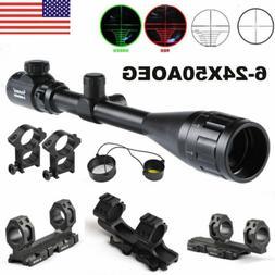 US 6-24x50AOEG Red/Green Mil Dot Rangefinder Scope Sight Dua